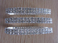 Wholesale 2 rows Rhinestone Crystal Stretch Tennis Wedding Chain Bracelets Promotion Gift J036