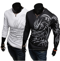 Wholesale HOT New Fashion Men Round neck Long sleeved T shirt EUR USA Style Tattoo