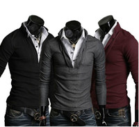 Men Cotton Polo 2012 Fashion Men's Clothing Leave two Slim Long-sleeved T-shirt Autumn Korean shirt 2378