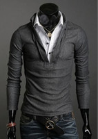 Wholesale DA New Fashion Men s Clothing Leave two Slim Long sleeved T shirt Autumn Korean shirt