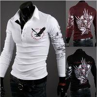 Cotton collar t-shirt - Hot New EUR USA Men Eagle Tattoo Printing Slim Long sleeved collar T shirt