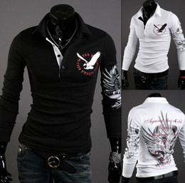 Wholesale DA HOT New EUR USA Men Eagle Tattoo Printing Slim Long sleeved collar T shirt