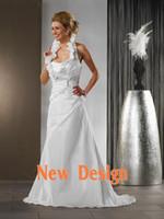 Reference Images Portrait Satin Custom Made Cheap High Neck Wedding Dresses Ruffle Satin Tight Corset White Bridal Dresses