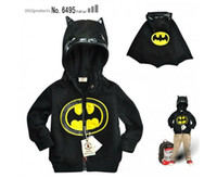 Wholesale New Style Batman shapes Black hooded coat children outwear boys zipper jacket kids clothes