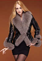 Wholesale 2012 Ladies Fashion Jacket Women s Jacket Super Fluffy Collar Fox Fur Leather Garments