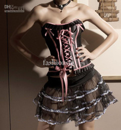 Wholesale 2012 Sexy Corset Bow Boble Luxurious Corset Bustier Satin S M L XL XXL BIG Discount SYFS