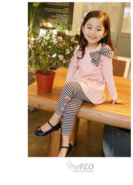 Wholesale Striped Leggings Outfit - Spring Autumn Winter Girl's Clothing outfit Bowknot Pinstriped suit Dress+Leggings Pink Black 2 colors 5 s l