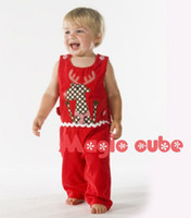 Wholesale Red baby sleeveless romper Christmas polka dot romper with lovely deer pattern new item