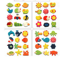 Wholesale 120pcs New exotic magnetic stickers wooden cartoon fridge magnet