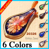 Wholesale Hot Fashion Murano Glass Necklaces Mix Colors Ligulate Pendants Necklaces Lampwork Glass Jewelry