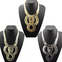 Wholesale Hot Colors Chunky Clear Rhinestone Snake Wide Chain Flat Curb Link Bib Necklace mix color