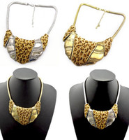 Wholesale Hot New Chunky Snake Chain Man made Leopard Design Metal Collar Bib Necklace colors
