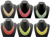 Wholesale New Gold Plated Metal Chunky Multi Layers Resin Gem Round tassels Bib Statement Necklace