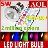 Wholesale 5W E27 RGB led lamp Color Change V LED RGB Light Bulb with keys Remote Control