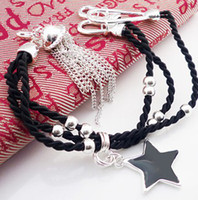 Wholesale Handmade Bracelets Fashion Metal Five pointed Star Leather Bracelets Jewelry