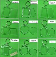 Wholesale 100pcs acrylic blank photo keychain keyring patterns diy yourself photo keychain