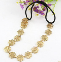 Wholesale New Comming Women Hollow Out Gold Bronze Plated Rose Flower Necklace Headband mix color