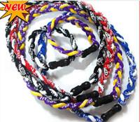 achat en gros de bandes de puissance collier-100pcs 2 cordes tressées en titane santé protection énergie colliers hommes femmes sports porter Power Band