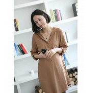 Wholesale New Arrival maternity wear clothing loose shirt dress skirt tops Pregnant long sleeve hoodie V7021