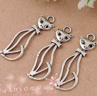 Wholesale Brand New Tibetan Silver Hollow Thin Cat Alloy Charms Pendants X34mm
