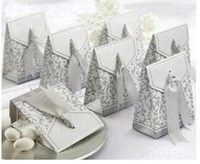 Wholesale 100pcs Ribbon Wedding Favor Candy Boxes Silver Wedding Party Gift Box Colors