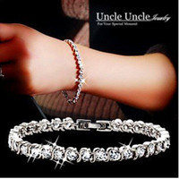Wholesale 18K Platinum Plated Brand Design Pieces Austrian Rhinestones Strand Lady Bracelets