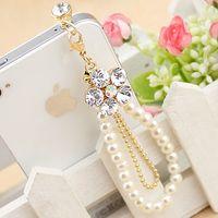 Earphone Jack Plugs   Handmade New Arrival Mobile Phone Chain Earphone Plug Luxurly Diamond Flower Pearl Pendant my34