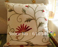 Wholesale hand made Crewel embroidery Linen cushion cover cmx45cm2pcs ID A35
