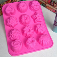 Wholesale 12 flowers silicone cake mold pudding cookie cutters