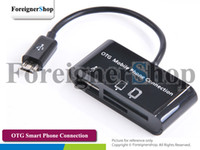 Wholesale 100 For Samsung Galaxy S2 S3 Note Micro Usb Hub Card Reader Otg Smart Phone Keyboard Mouse