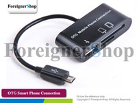 Wholesale 50 For Samsung Galaxy S2 S3 Note Micro Usb Hub Card Reader Otg Smart Phone Keyboard Mouse