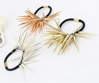 Wholesale Punk Silver Gold Bronze Triangular Pyramidal Rivet ponytail Hairband Rope women s jewelry