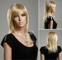 Wholesale 19 quot cm wig european women wig medium long blonde wig Hair down technology Advanced Simulation wig