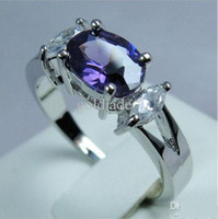 Wholesale Noblest womens K white gold filled wedding ring ct alexandrite purple gemstone rings party