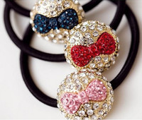 Wholesale New Women s Accessory Rhinestone Cream Shape Bow Knot Ponytail Holder Hair Band mix color