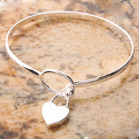 Wholesale US Seller Peach Heart Bangle Bracelet Sterling Silver inch Circumference New Charming S01752