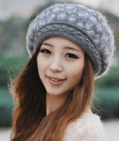Wholesale Rabbit Hair Beret Son Winter New Hat Lady Lovely Double Warm Cap