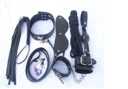 Wholesale Adult product Sex toy Bondage set of blindfold handcuff flogger gag collar rope nipple clip