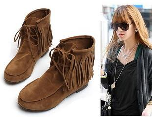 Hot Sale Comfy Fringe Women's Boots Flat Ankle Shoes Brown Us Size ...