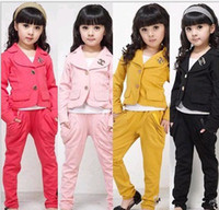 Wholesale girls spring autumn suits coats top jackets pants trousers set
