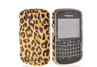 Wholesale Leopard Hard Leather Rubber Back Case Cover for Blackbarry Bold