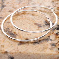 Wholesale US Seller Charming White Copper Silver Plated Smooth Hoop Earrings inch With Sterling Silver Ear Needle S01681