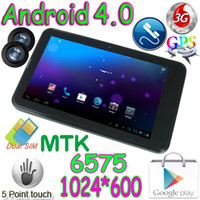 Wholesale MTK6575 G WCDMA GSM Phone Call Dual Sim quot Capacitive Android Tablet PC Webcam Bluetooth mobile