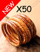 Wholesale 50pcs Peach wooden bracelets Wood Bangle Costume Jewelry Leopard Printing Wooden Bracelet Bangles