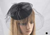 Wholesale colorfu feather Full Blusher Birdcage Veil Detachable black net Flower Fresh brida hats
