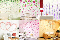Wholesale flower wall sticker removable home decorative paster set flowers retails from colors sets