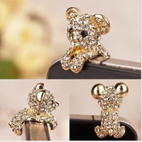 Wholesale Fashion Cute Animal Diamond Phone Accessories Anti Dust Plug Ear Cap for mm Jack my55