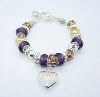 Wholesale 10pcs Fashion European Design Lovely Beads Charm Bracelet silver Heart Pendant Bracelet