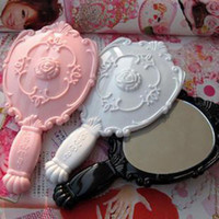Wholesale 60PCS Vintage Rose Cosmetic Mirror Plastic Makeup Mirror Gift Cute Girl Hand Make Up Black White Pink