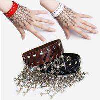Women's american traditional dance - Punk Bracelet Woman Fashion Bangle Belly Dance Torque Gypsophila Wristlet Black white Red coffee